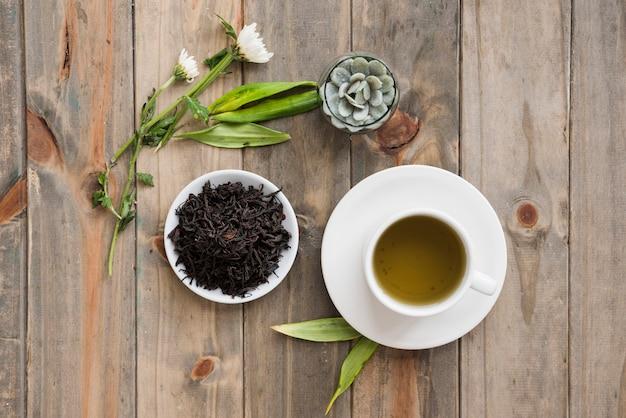 Vista superior taza de té