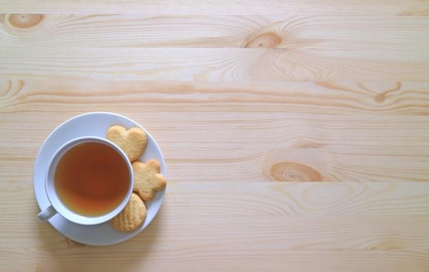 Vista superior de una taza de té