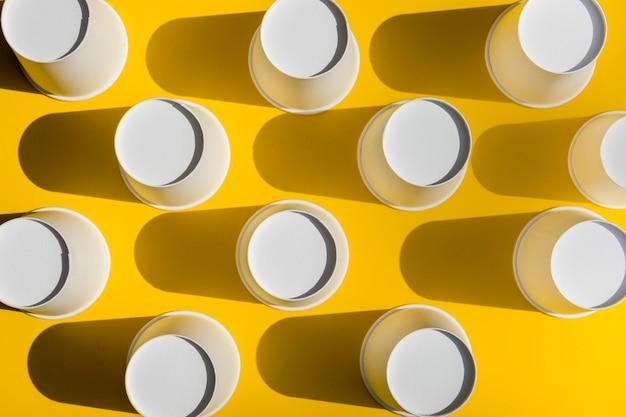 Vista superior tazas de café de papel