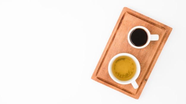 Vista superior tazas de café y tñe