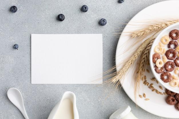Vista superior tazón de cereal con maqueta