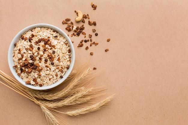 Vista superior tazón de cereales