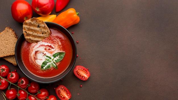Vista superior del tazón con sopa de tomate de invierno y espacio de copia
