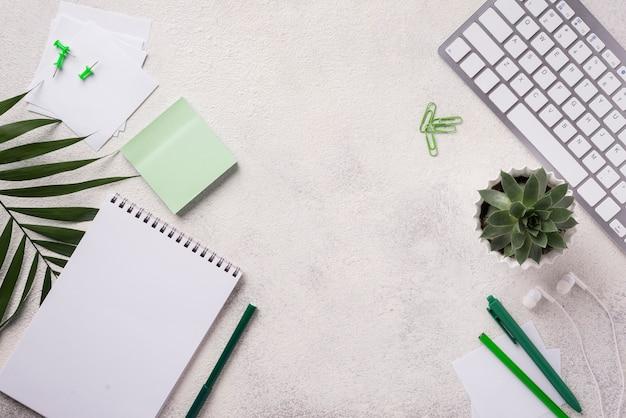 Vista superior del teclado en el escritorio con plantas y hojas suculentas