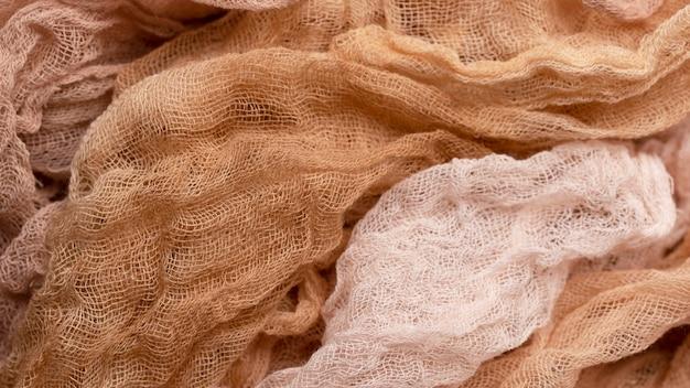 Vista superior de tejidos monocromáticos