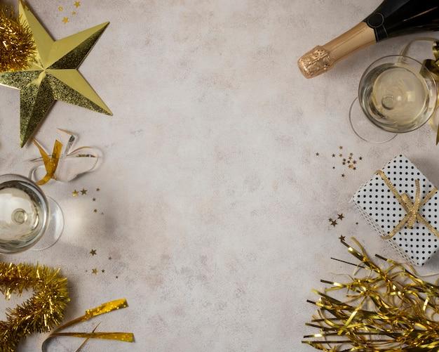 Vista superior tema de celebración de año nuevo
