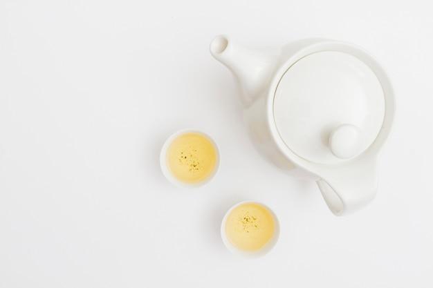 Vista superior tetera con tazas de té