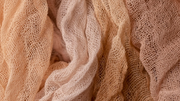 Vista superior de textiles monocromáticos