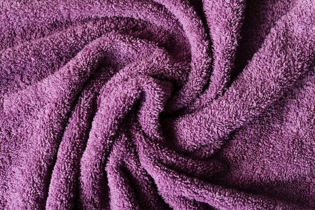 Vista superior textura de toalla púrpura