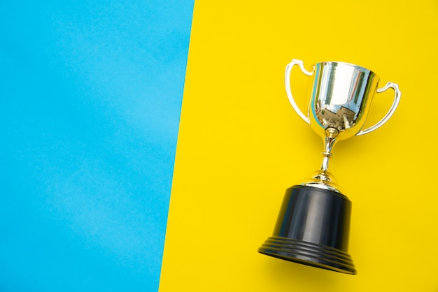 Vista superior del trofeo colocado sobre un fondo colorido.