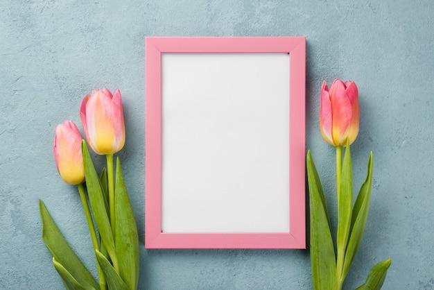 Vista superior de tulipanes con marco en la mesa