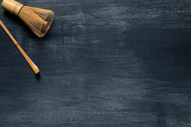 Vista superior utensilios de té asiático con copyspace