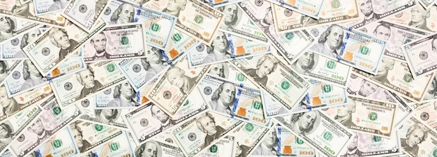 Vista superior de varios dólares en efectivo