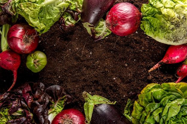 Vista superior de verduras con ensalada y berenjenas