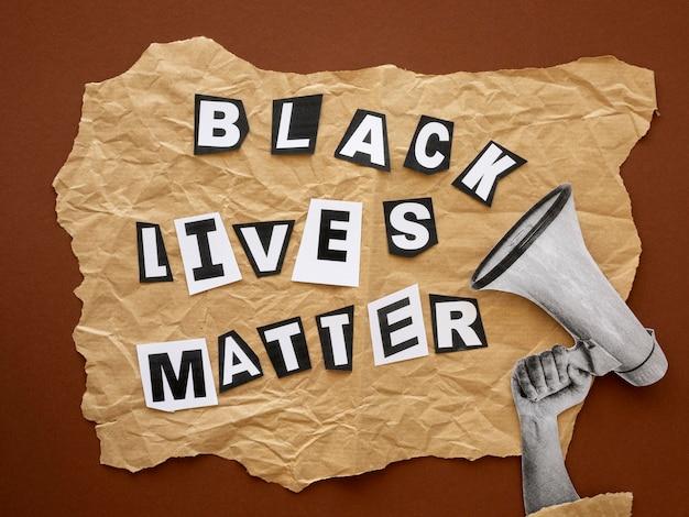 Vista superior, las vidas negras importan la conciencia.