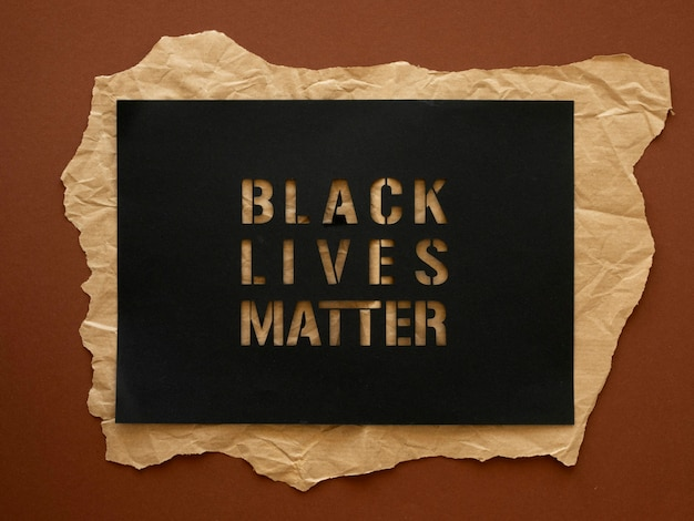 Vista superior, las vidas negras importan la conciencia