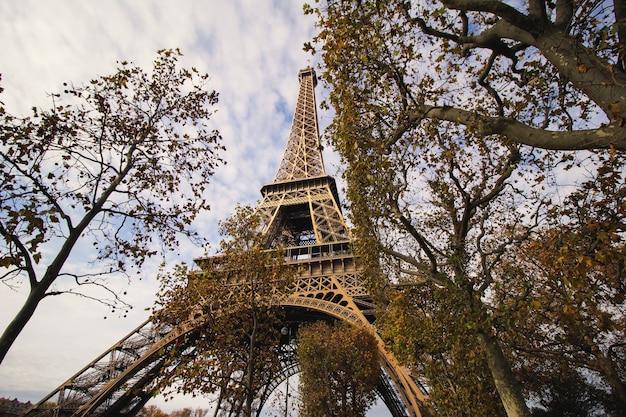 La vista de la torre eiffel desde el parque