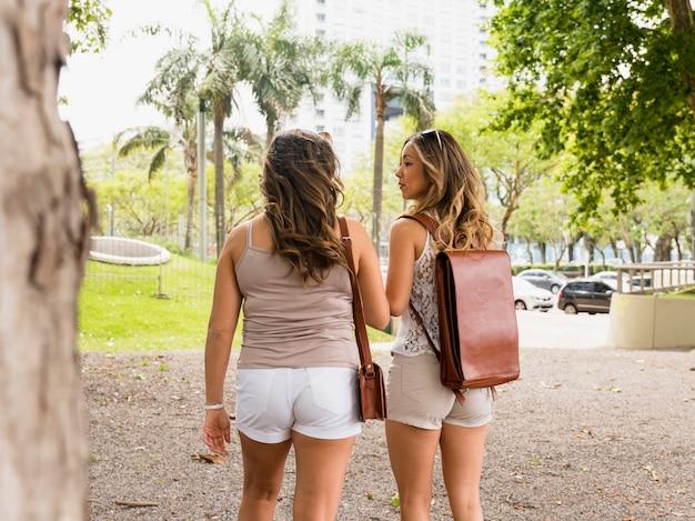 Vista trasera de dos bolsos de cuero que llevan turistas femeninas que caminan en el parque