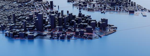 Vistas de la ciudad de baja poli. conceptos de tecnología urbana.