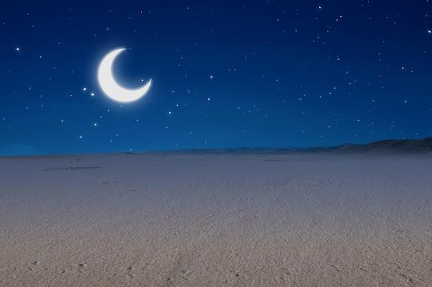 Vistas de la duna de arena con el fondo de la escena nocturna.