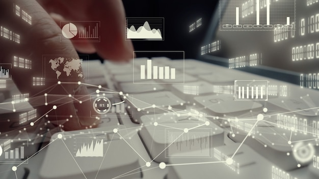 Visual creativo de big data empresarial y análisis financiero en computadora