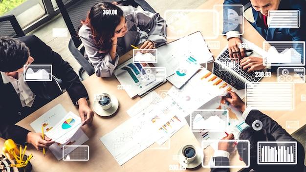 Visual creativo de gente de negocios en reunión de personal corporativo.