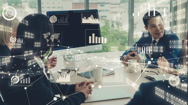 Visual creativo de la tecnología de análisis de datos comerciales.