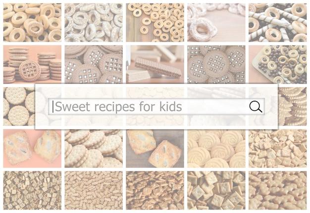 Visualización de la barra de búsqueda de un collage de dulces.