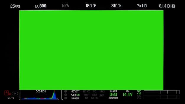 Visualización de la pantalla del monitor de grabación y texto de información detallada y aislado.