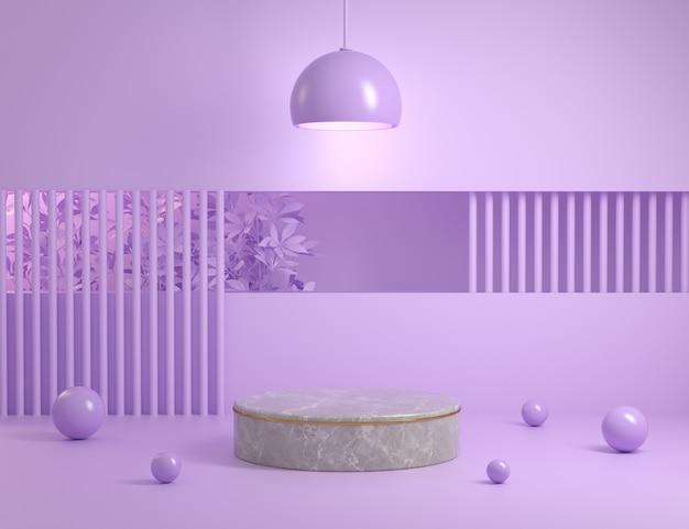 Visualización de plantilla mínima violeta para mostrar producto render 3d