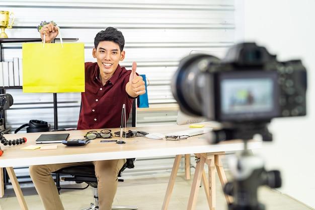 Vlog de comerciante en línea en vivo