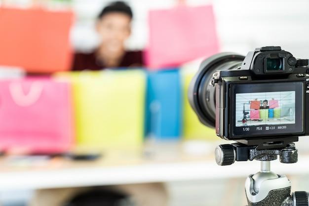 Vlog en línea para comerciantes en vivo