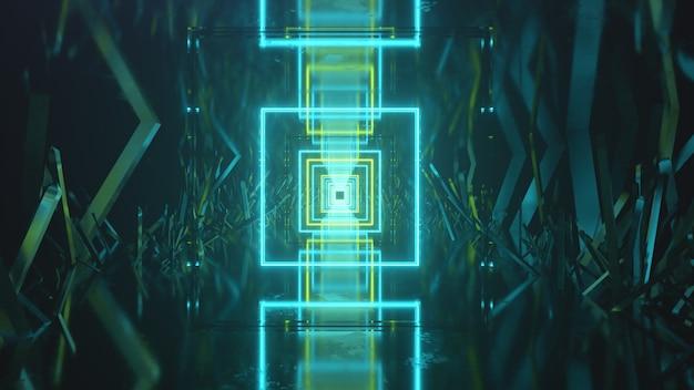 Volando en el espacio abstracto a lo largo de bloques cristalinos. luz de neón por delante.