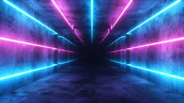 Volando en un interior futurista abstracto azul y morado