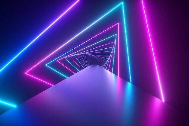 Volando a través de brillantes triángulos de neón giratorios creando un túnel