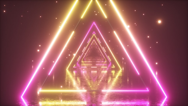 Volando a través de brillantes triángulos de neón con piso de metal creando un túnel con niebla