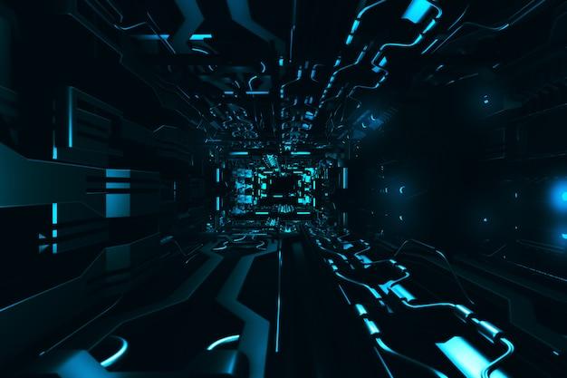 Volar dentro del corredor metálico futurista representación 3d