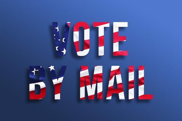 Vote por correo. texto con bandera americana sobre fondo azul.