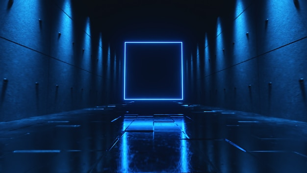 Vuelo sin fin en un pasillo oscuro futurista con luces de neón. un cuadrado de neón brillante al frente.