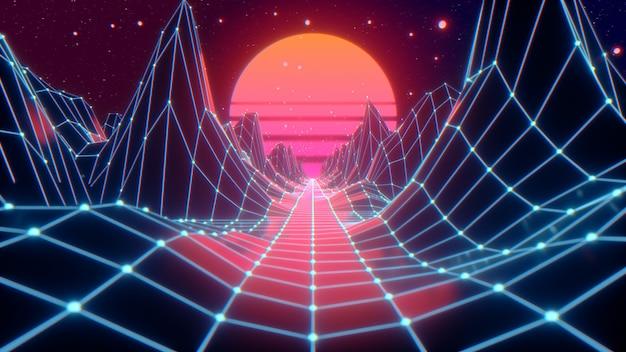 Vuelo futurista retro en el espacio con una malla poligonal en las colinas y el piso generados. concepto 80s 90s.