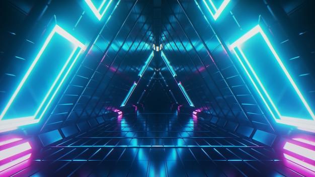 Vuelo interminable abstracto en un corredor futurista de metal geométrico