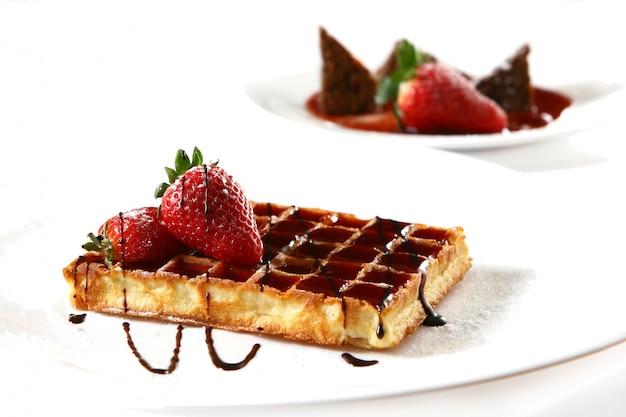 Waffles con fresa