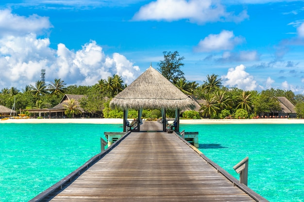 Water bungalows en una isla tropical en las maldivas