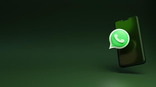 Whatsapp 3d con el teléfono móvil inteligente increíbles anuncios en redes sociales
