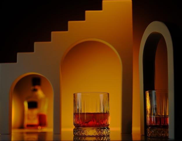 Whisky en mesa con fondo arquitectónico