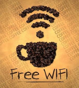 Wifi gratis cup icon coffee bean en papel viejo
