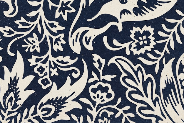 William morris fondo floral índigo patrón botánico remix ilustración