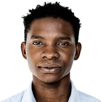 Worldface-hombre de uganda en un fondo blanco