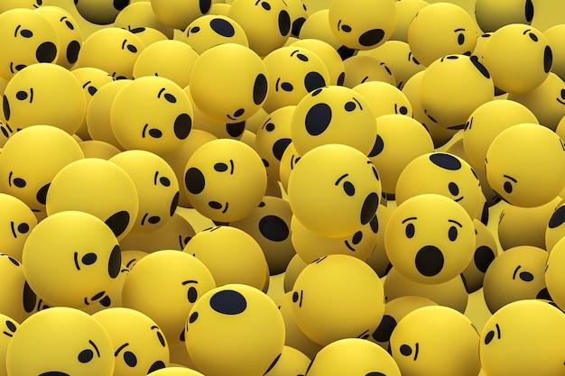 Wow facebook emoji 3d render fondo, símbolo de globo de redes sociales