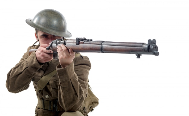 Ww1 soldado del ejército británico de francia 1918, en blanco